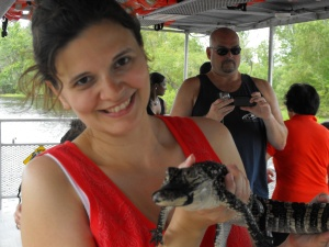 Me!  Holding an alligator!  I'm like that Australian guy who died by stingray!